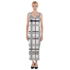 Fabric Plaid Grey Gray Burgundy Fitted Maxi Dress