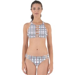 Fabric Plaid Grey Gray Burgundy Perfectly Cut Out Bikini Set