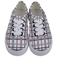 Fabric Plaid Grey Gray Burgundy Kids  Classic Low Top Sneakers