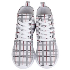 Fabric Plaid Grey Gray Burgundy Women s Lightweight High Top Sneakers