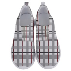 Fabric Plaid Grey Gray Burgundy No Lace Lightweight Shoes by Wegoenart