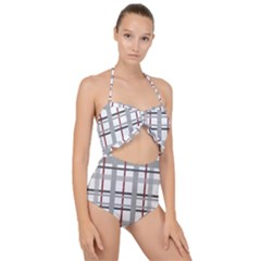 Fabric Plaid Grey Gray Burgundy Scallop Top Cut Out Swimsuit by Wegoenart