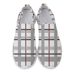 Fabric Plaid Grey Gray Burgundy Women s Slip On Sneakers by Wegoenart