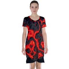 Lava Planet Space Universe Fire Short Sleeve Nightdress