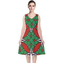 Christmas Seamless Pattern Xmas V Neck Midi Sleeveless Dress