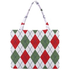 Red Green White Argyle Navy Mini Tote Bag by Wegoenart