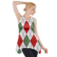 Red Green White Argyle Navy Side Drop Tank Tunic
