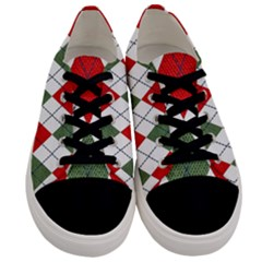 Red Green White Argyle Navy Men s Low Top Canvas Sneakers