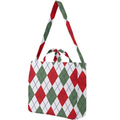 Red Green White Argyle Navy Square Shoulder Tote Bag by Wegoenart