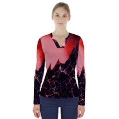 Sci Fi Red Fantasy Futuristic V Neck Long Sleeve Top