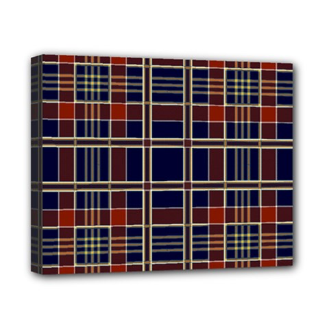 Plaid Tartan Scottish Navy Gold Canvas 10  X 8  (stretched)