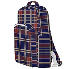 Plaid Tartan Scottish Navy Gold Double Compartment Backpack by Wegoenart