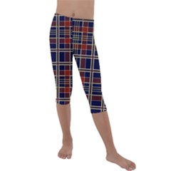 Plaid Tartan Scottish Navy Gold Kids  Lightweight Velour Capri Leggings  by Wegoenart