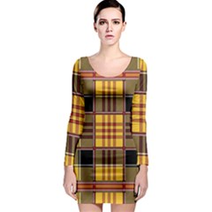 Plaid Tartan Scottish Yellow Red Long Sleeve Bodycon Dress