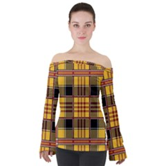 Plaid Tartan Scottish Yellow Red Off Shoulder Long Sleeve Top