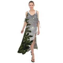 Christmas Fir Tree Mockup Star Maxi Chiffon Cover Up Dress