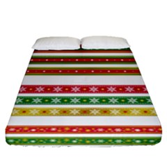 Christmas Ribbons Christmas Gold Fitted Sheet (queen Size)