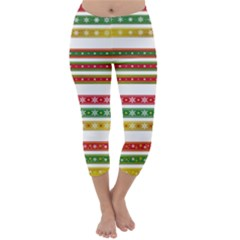 Christmas Ribbons Christmas Gold Capri Winter Leggings