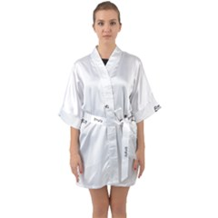 Abstract Pattern Quarter Sleeve Kimono Robe