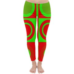 Red Green Christmas Background Classic Winter Leggings