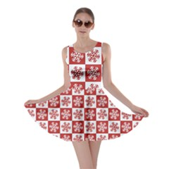 Snowflake Red White Skater Dress