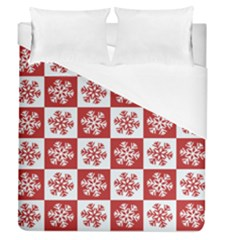 Snowflake Red White Duvet Cover (queen Size)