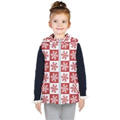 Snowflake Red White Kid s Hooded Puffer Vest by Wegoenart