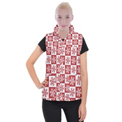 Snowflake Red White Women s Button Up Vest