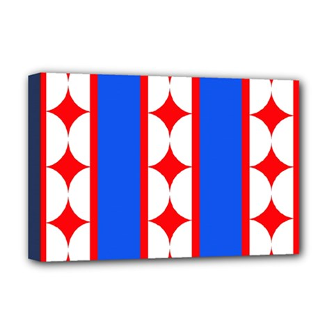 Stars Stripes July 4th Flag Blue Deluxe Canvas 18  X 12  (stretched)