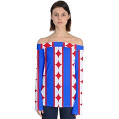 Stars Stripes July 4th Flag Blue Off Shoulder Long Sleeve Top