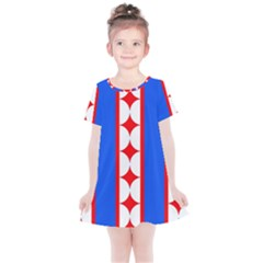 Stars Stripes July 4th Flag Blue Kids  Simple Cotton Dress