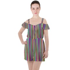Striped Stripes Abstract Geometric Ruffle Cut Out Chiffon Playsuit