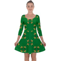 Background Christmas Quarter Sleeve Skater Dress by Wegoenart