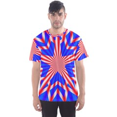 Star Explosion Burst Usa Red Men s Sports Mesh Tee