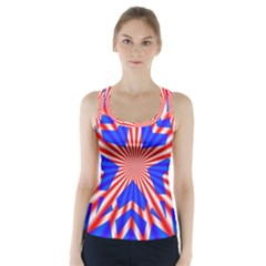 Star Explosion Burst Usa Red Racer Back Sports Top