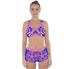 Star Explosion Burst Usa Red Racerback Boyleg Bikini Set