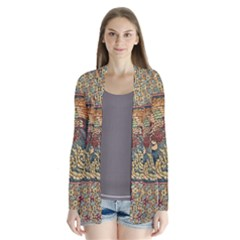 Wings Feathers Cubism Mosaic Drape Collar Cardigan by Wegoenart