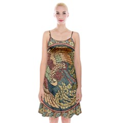Wings Feathers Cubism Mosaic Spaghetti Strap Velvet Dress by Wegoenart