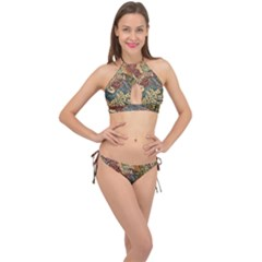 Wings Feathers Cubism Mosaic Cross Front Halter Bikini Set