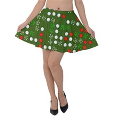 1960 s Christmas Background Velvet Skater Skirt