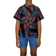 Abstract Art Pattern Kids  Short Sleeve Swimwear