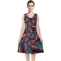 Abstract Art Pattern V Neck Midi Sleeveless Dress