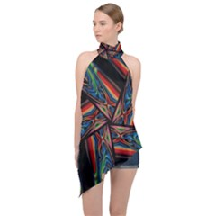 Abstract Art Pattern Halter Asymmetric Satin Top by Wegoenart
