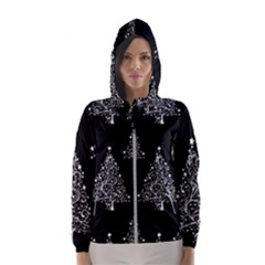 Christmas Tree Modern Background Hooded Windbreaker (women)