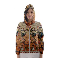 Flower Cubism Mosaic Vintage Hooded Windbreaker (women)