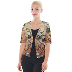 Flower Cubism Mosaic Vintage Cropped Button Cardigan