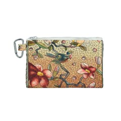 Flower Cubism Mosaic Vintage Canvas Cosmetic Bag (small) by Wegoenart