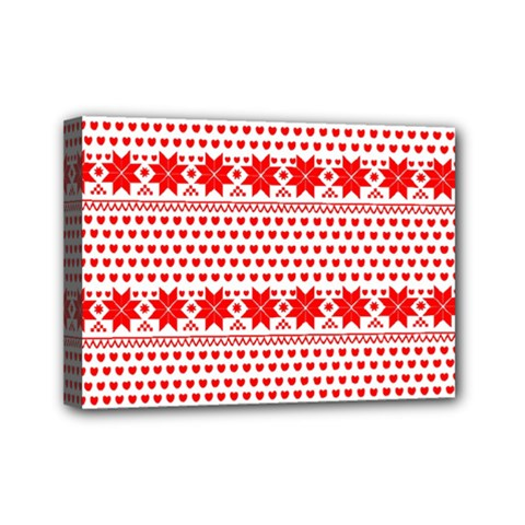 Fairisle Pattern Background Red Mini Canvas 7  X 5  (stretched)