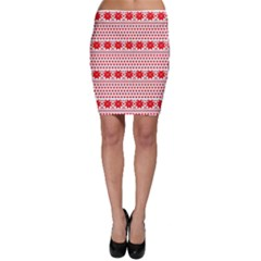 Fairisle Pattern Background Red Bodycon Skirt