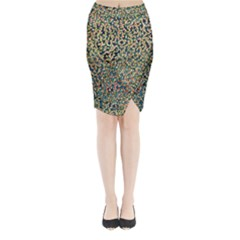 Background Cubism Mosaic Vintage Midi Wrap Pencil Skirt